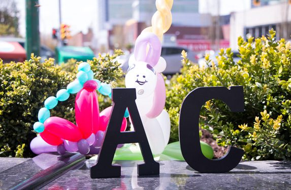 letters A and C with balloons decoration