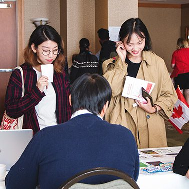 Two International Students during Student Orientation