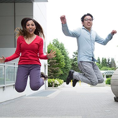 Happy International Student Jump Photo