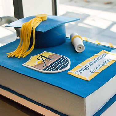 Graduation Cake at Alexander College Saying Congratulations