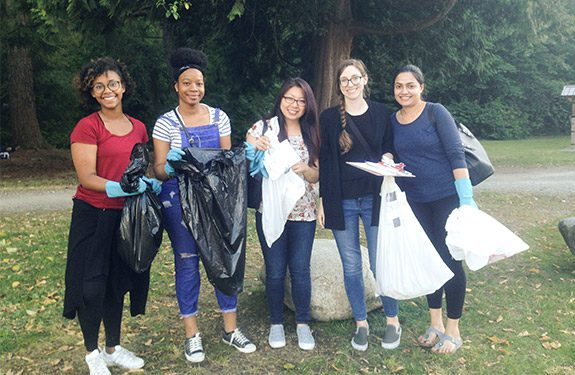 Alexander College Green committee cleaning up the local park
