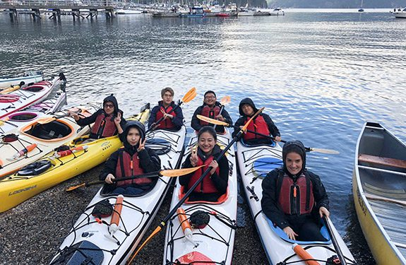 Alexander College students enjoying kayaking at Deer Lake