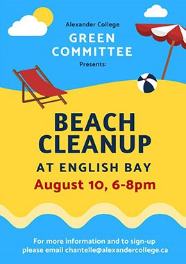 Beach cleanup at English Bay College School Event