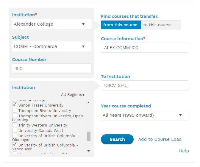 Instructions on how to check eligibility to transfer credits from Alexander College to a university for university transfer program