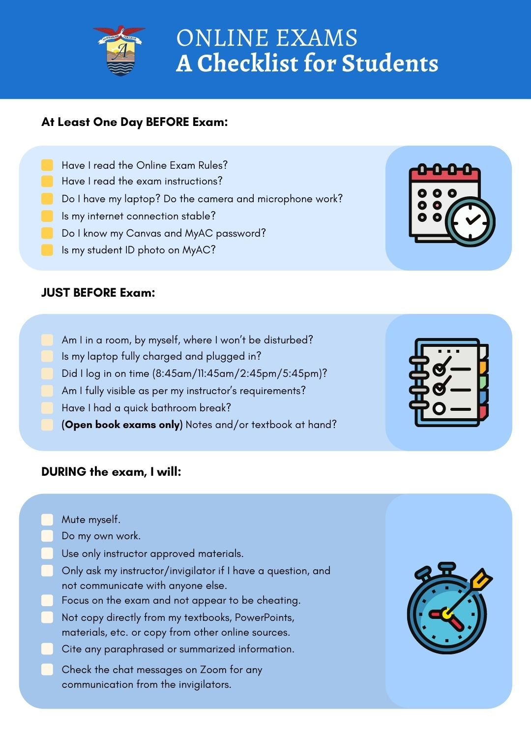 Online Exam Checklist for Students