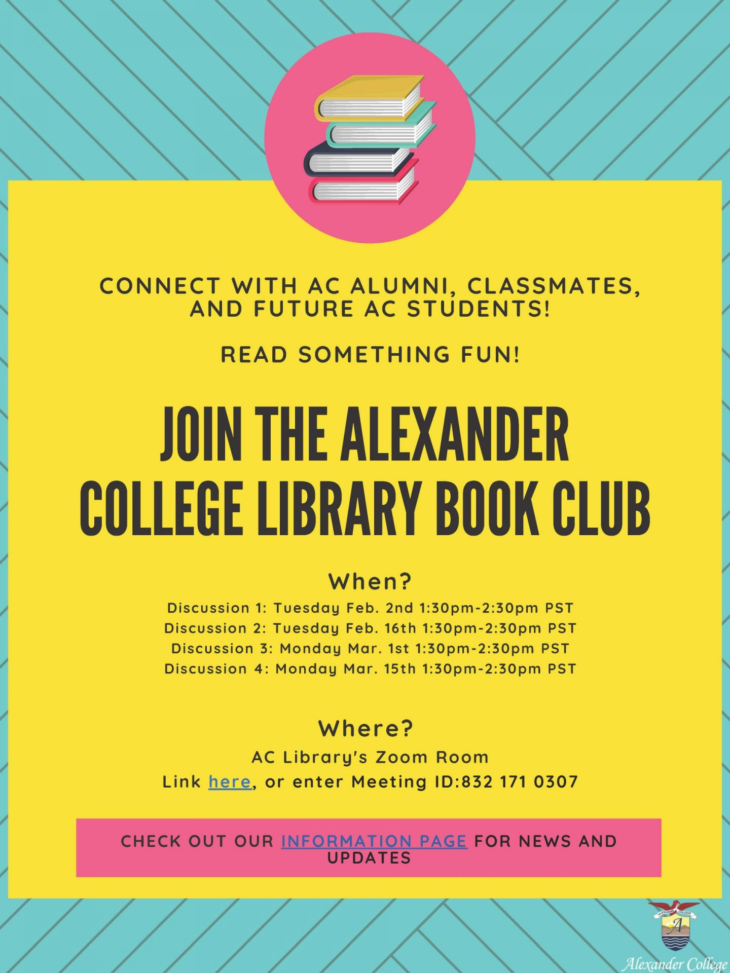 book club poster with meeting dates